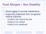 food allergies non disability