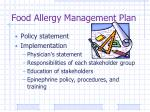 food allergy management plan