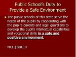 public school s duty to provide a safe environment