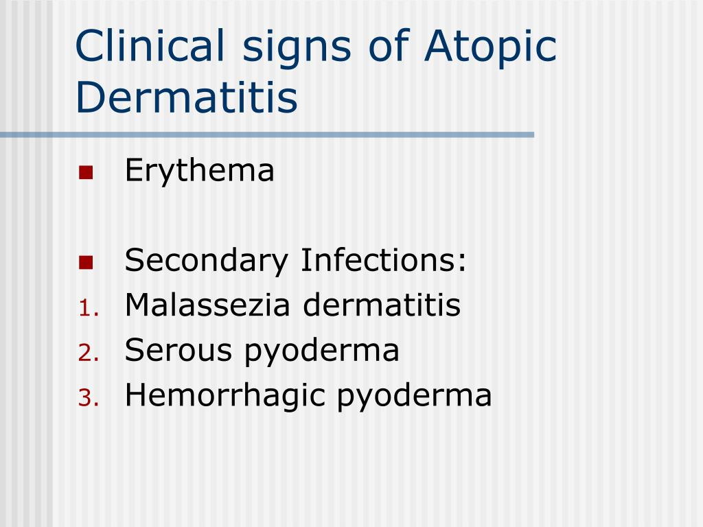 Clinical signs of Atopic Dermatitis