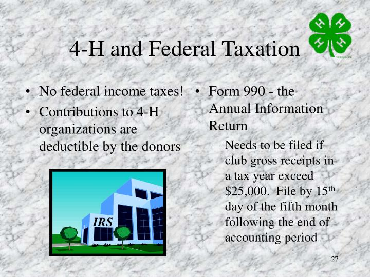 No federal income taxes!