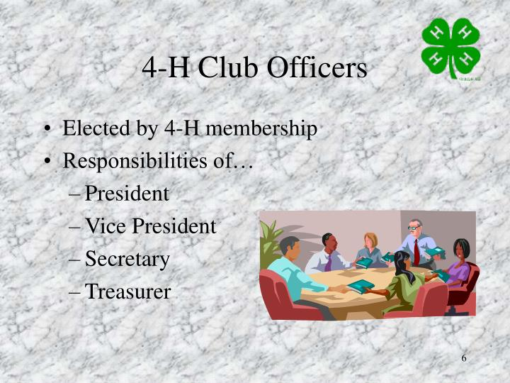 4-H Club Officers