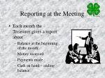 reporting at the meeting
