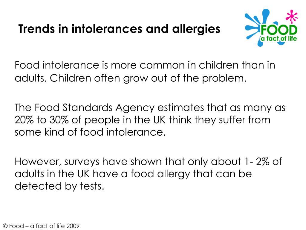 Trends in intolerances and allergies