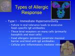 types of allergic response