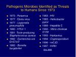 pathogenic microbes identified as threats to humans since 1973