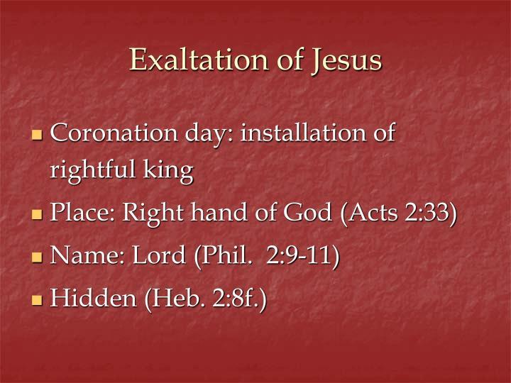 Exaltation of jesus