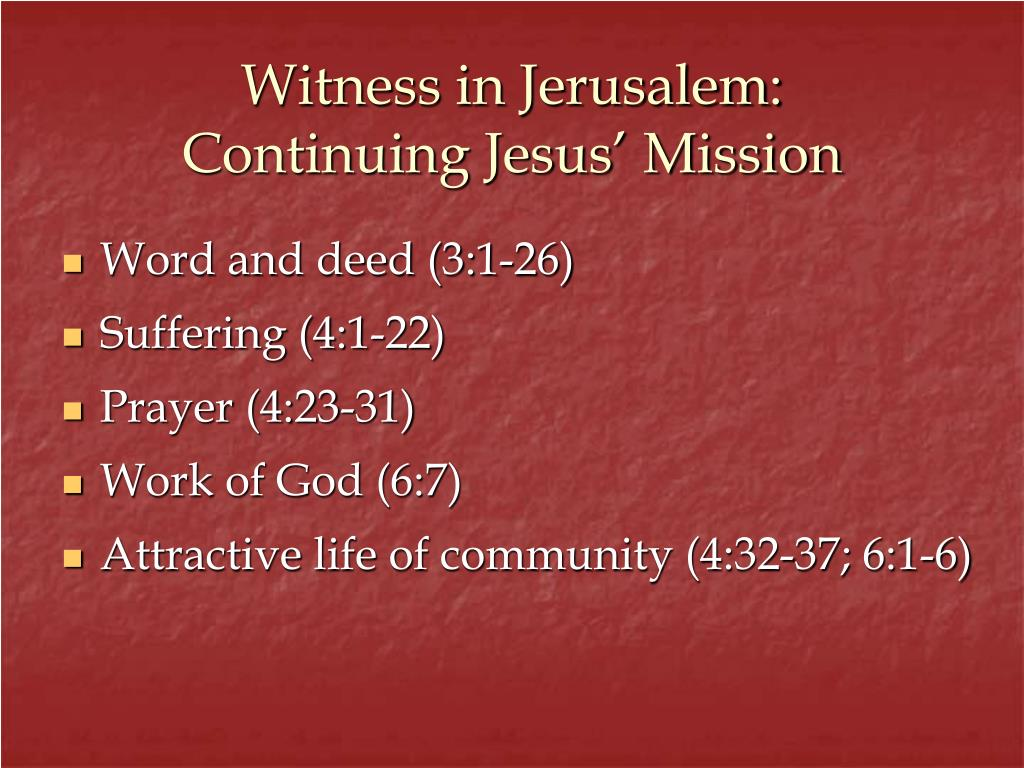 Witness in Jerusalem: