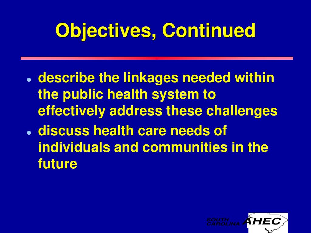Objectives, Continued