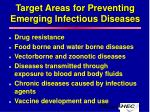 target areas for preventing emerging infectious diseases