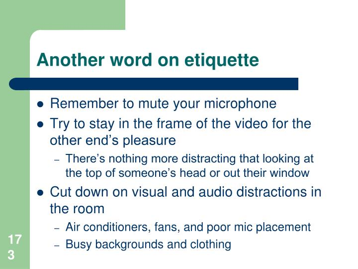 Another word on etiquette