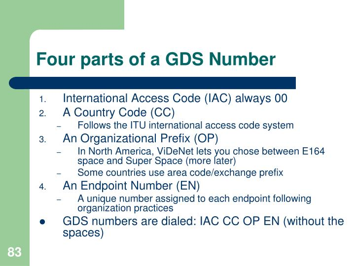 Four parts of a GDS Number