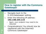 how to register with the commons gatekeeper2