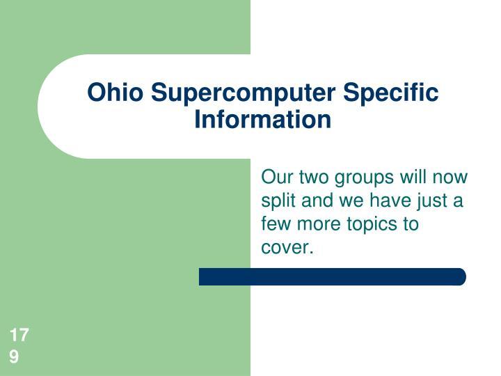Ohio Supercomputer Specific Information