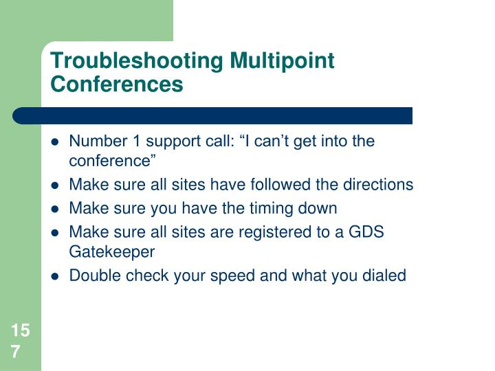 Troubleshooting Multipoint Conferences