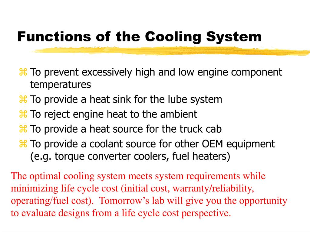 Functions of the Cooling System