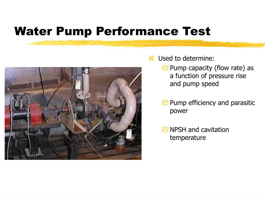 Water Pump Performance Test