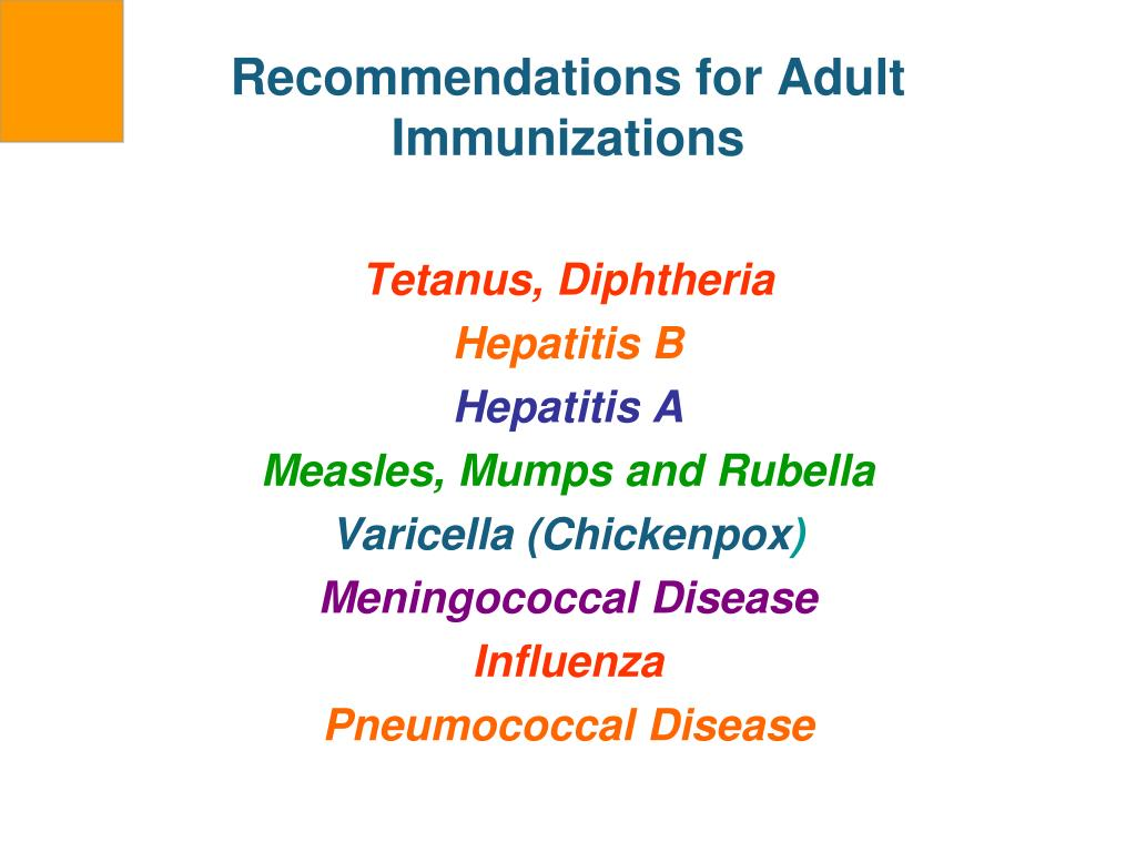 Recommendations for Adult Immunizations