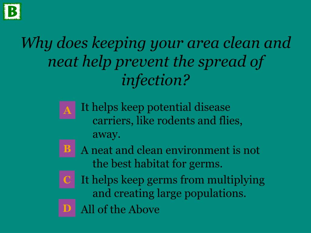 Why does keeping your area clean and neat help prevent the spread of infection?