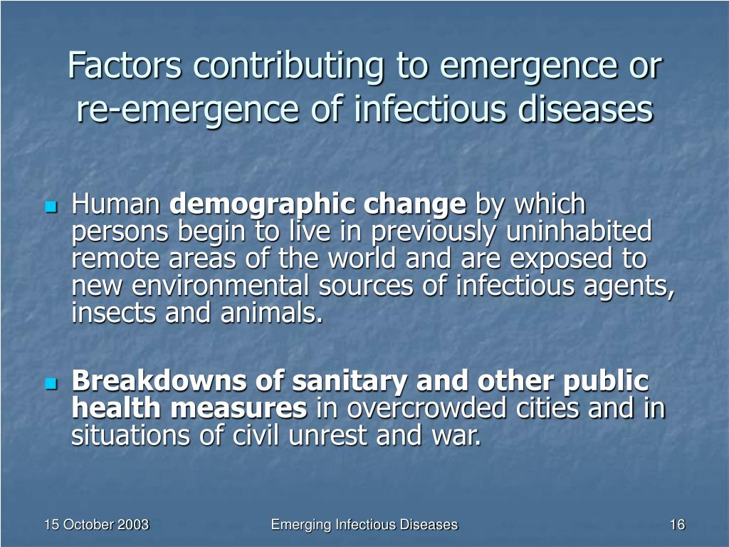 Factors contributing to emergence or re-emergence of infectious diseases