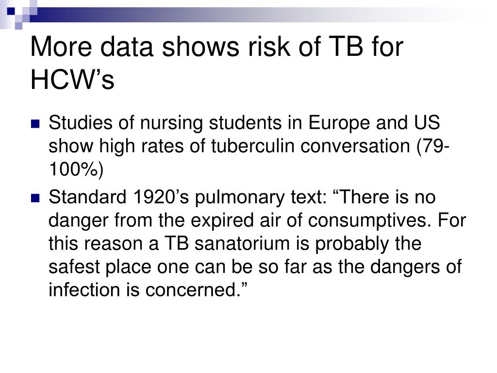 More data shows risk of TB for HCW's
