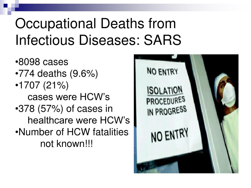 Occupational Deaths from Infectious Diseases: SARS