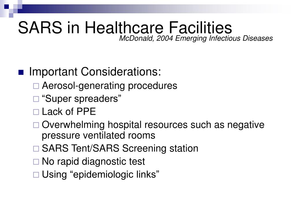 SARS in Healthcare Facilities