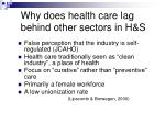 why does health care lag behind other sectors in h s