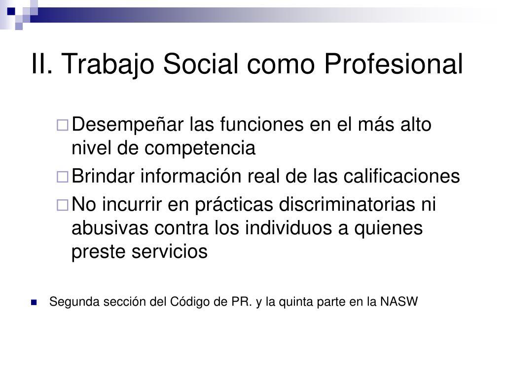 II. Trabajo Social como Profesional