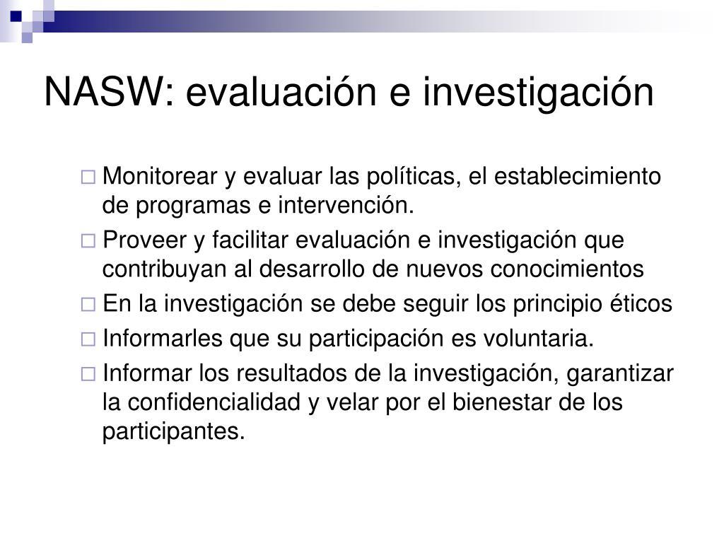 NASW: evaluación e investigación