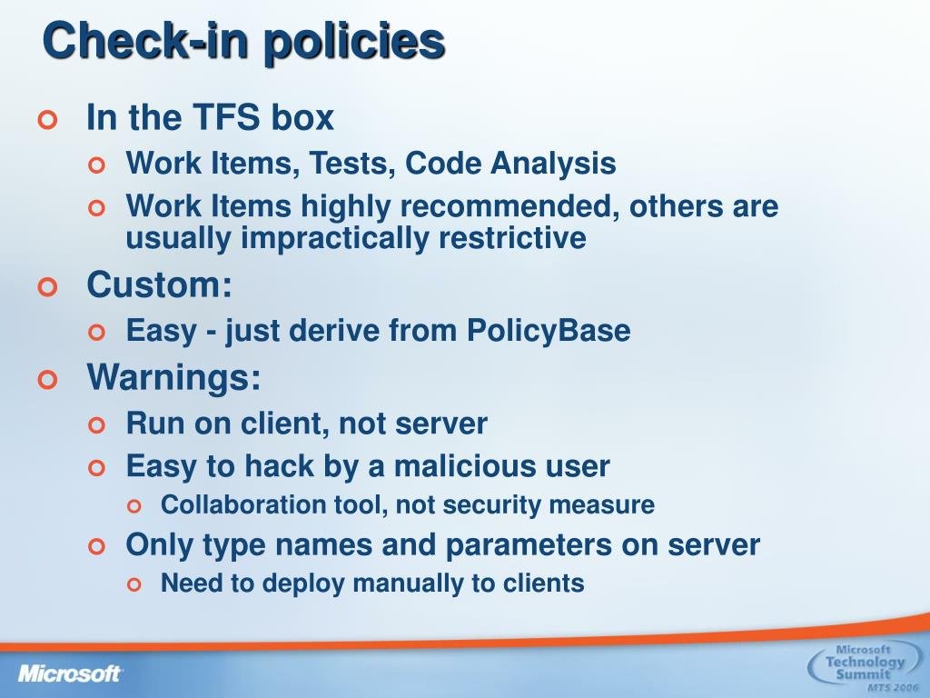 Check-in policies