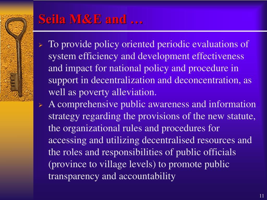 Seila M&E and …
