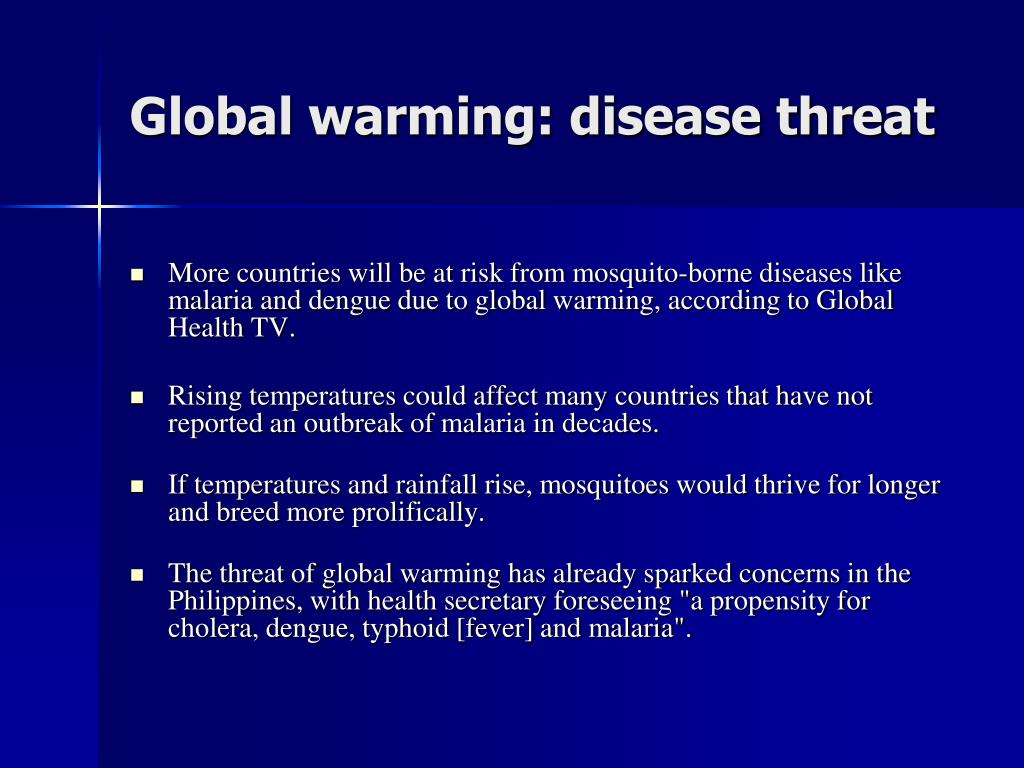 Global warming: disease threat