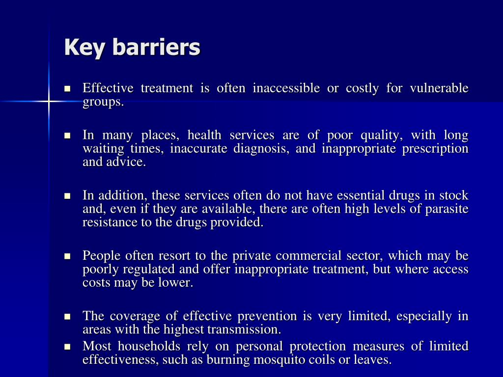 Key barriers