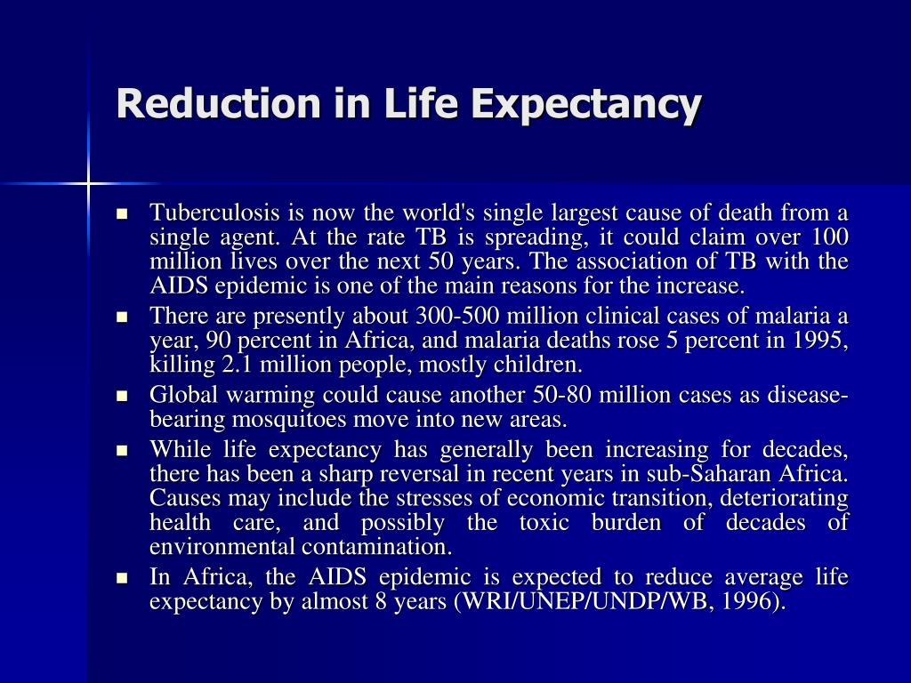 Reduction in Life Expectancy