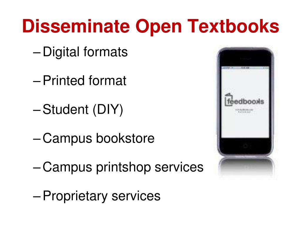 Disseminate Open Textbooks
