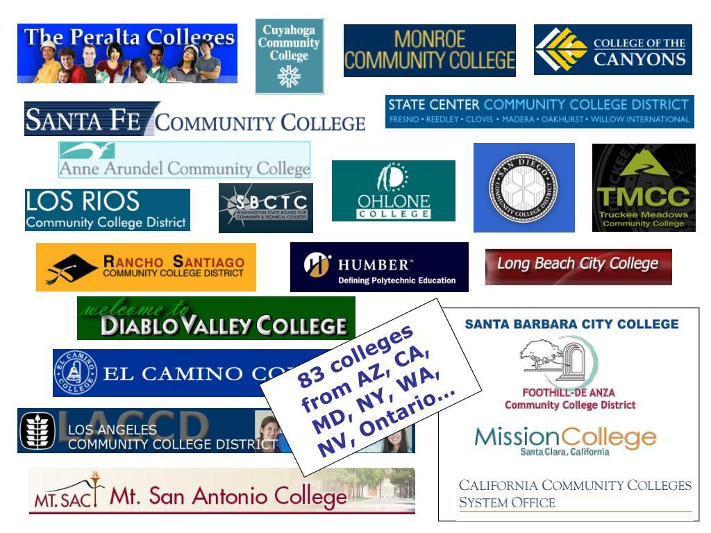 83 colleges from AZ, CA, MD, NY, WA, NV, Ontario…