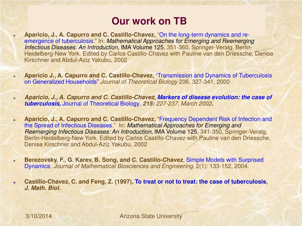 Our work on TB