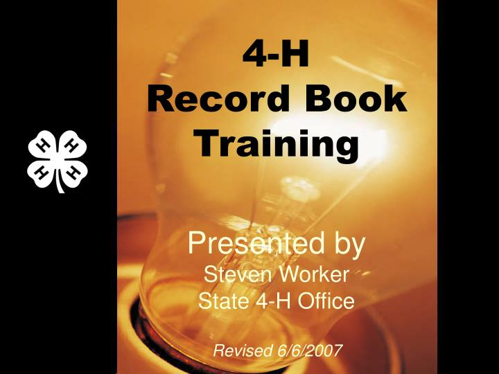 4 h record book training n.