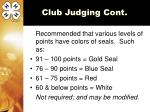 club judging cont
