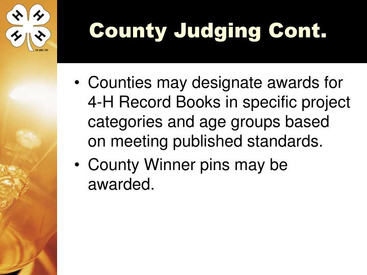 County Judging Cont.