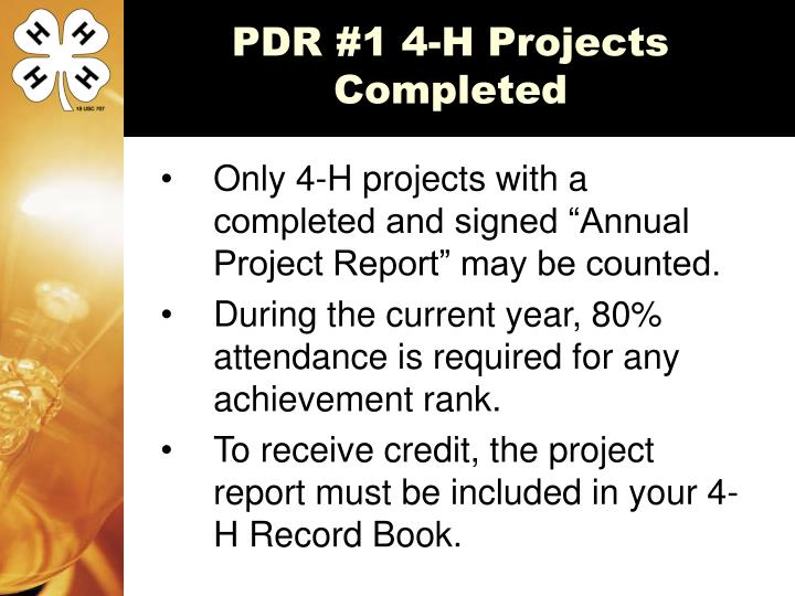 PDR #1 4-H Projects Completed