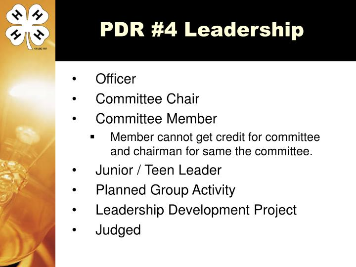 PDR #4 Leadership