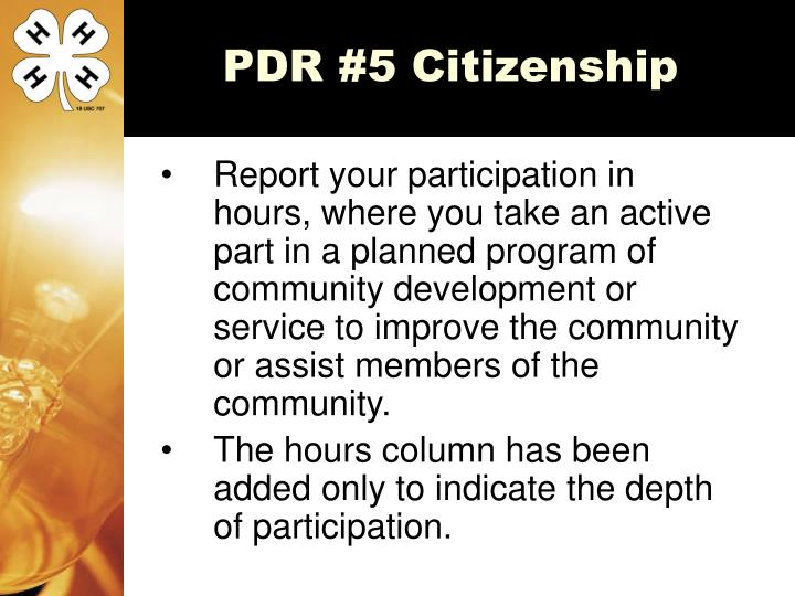 PDR #5 Citizenship