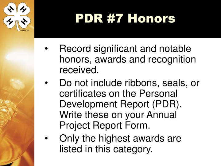 PDR #7 Honors