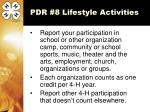 pdr 8 lifestyle activities