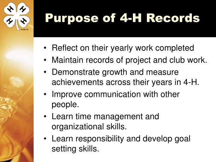 Purpose of 4-H Records