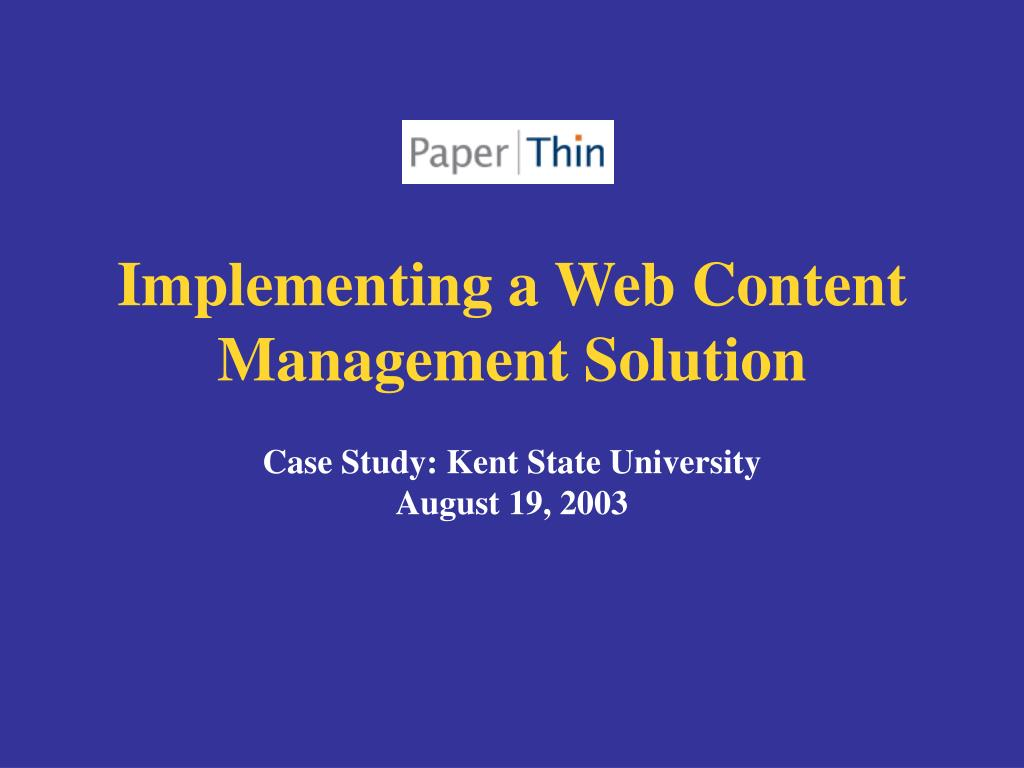 implementing a web content management solution l.