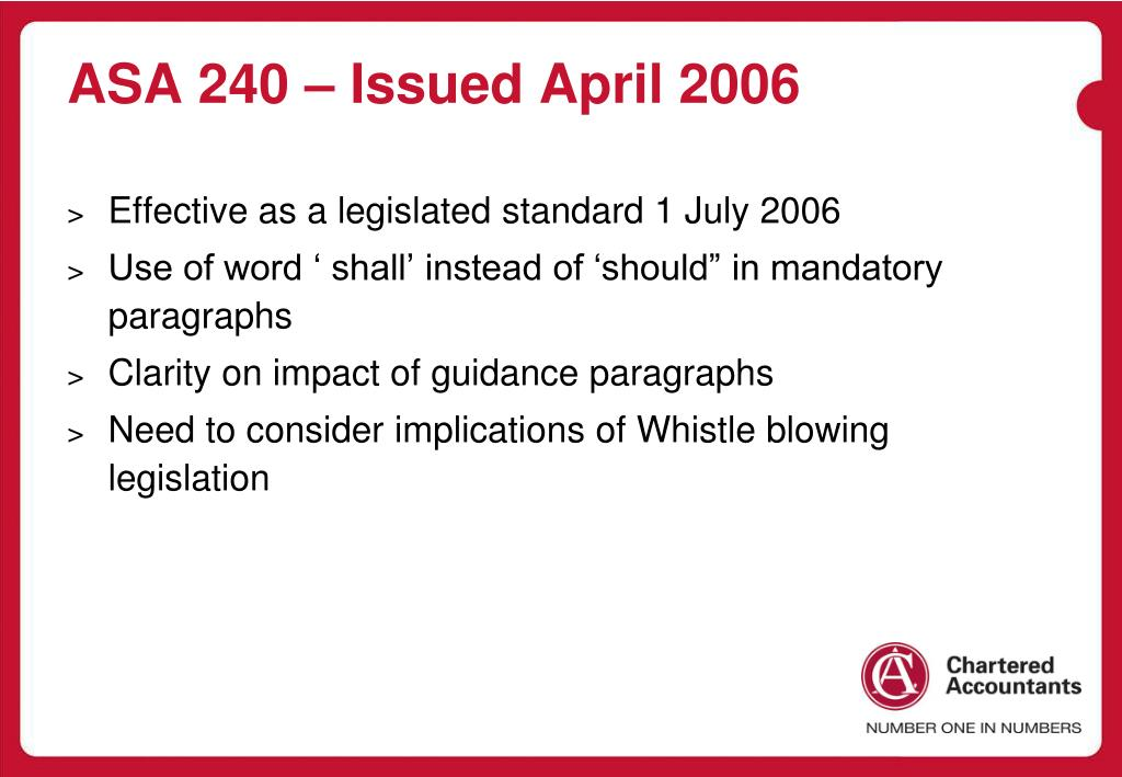 ASA 240 – Issued April 2006