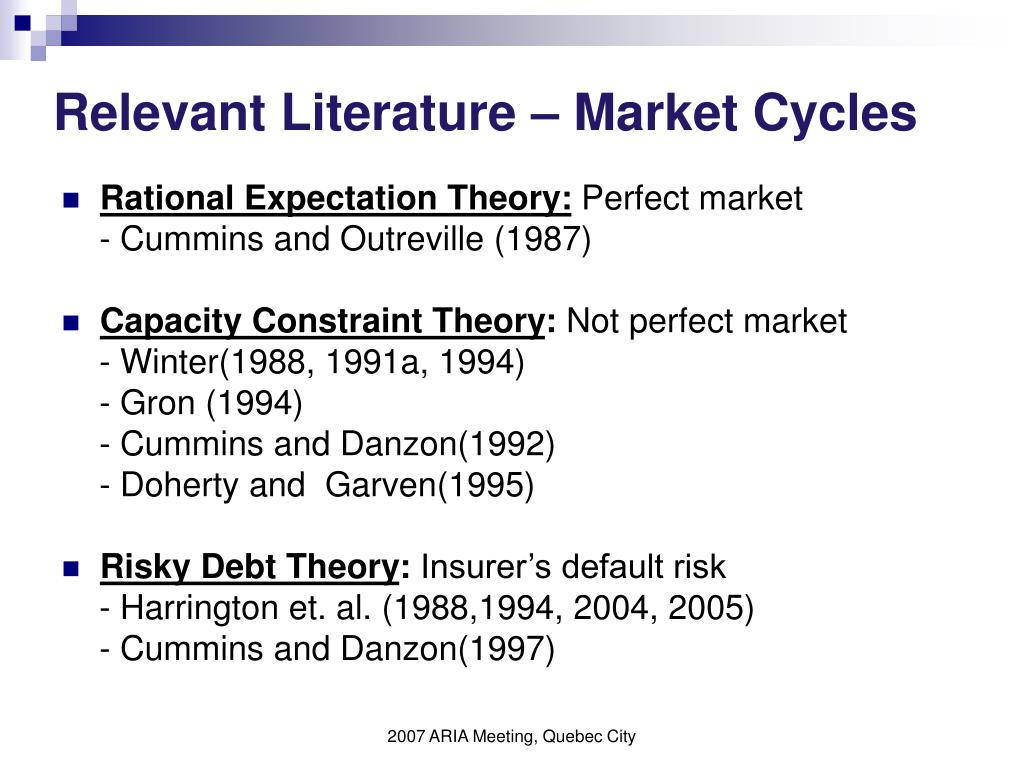 Relevant Literature – Market Cycles